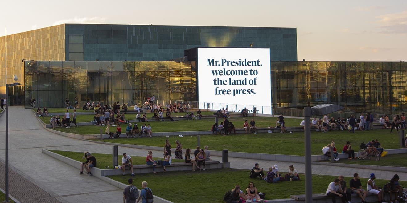 Finnish Newspaper Lines Trump's Route in Helsinki With Ads Celebrating Press Freedom